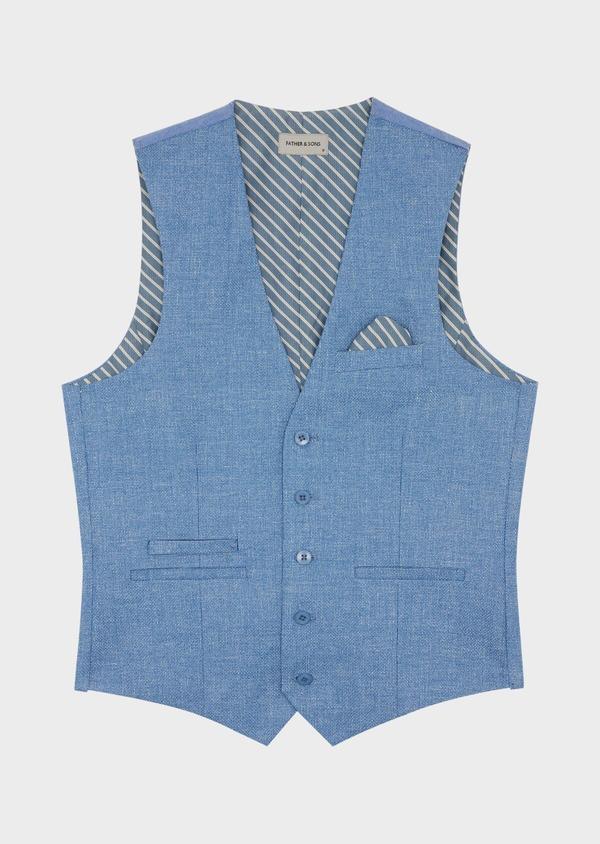 Gilet casual en lin et coton uni bleu - Father and Sons 39823
