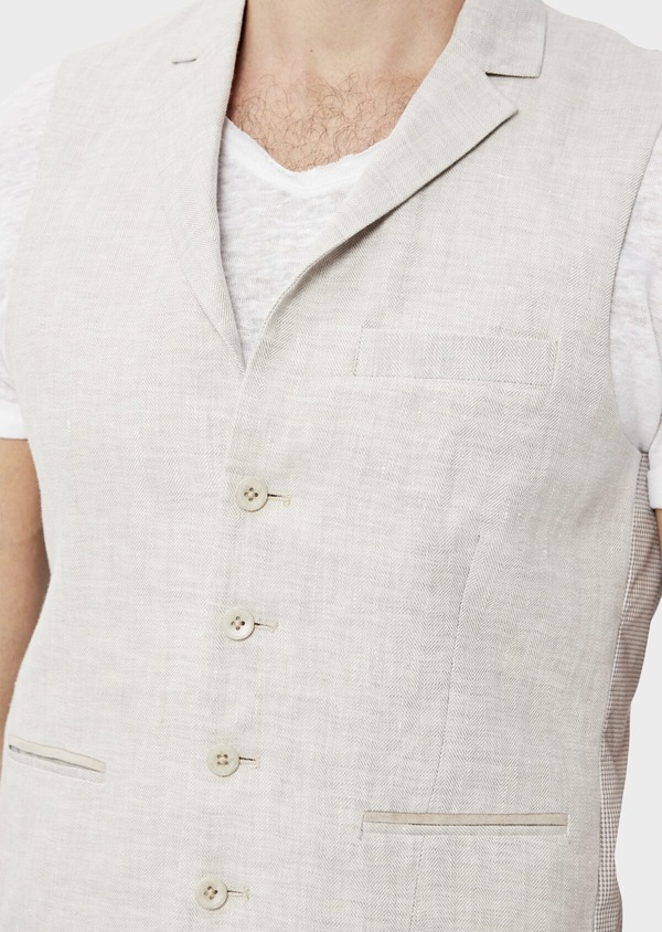 Gilet casual en lin uni gris clair - Father and Sons 34522