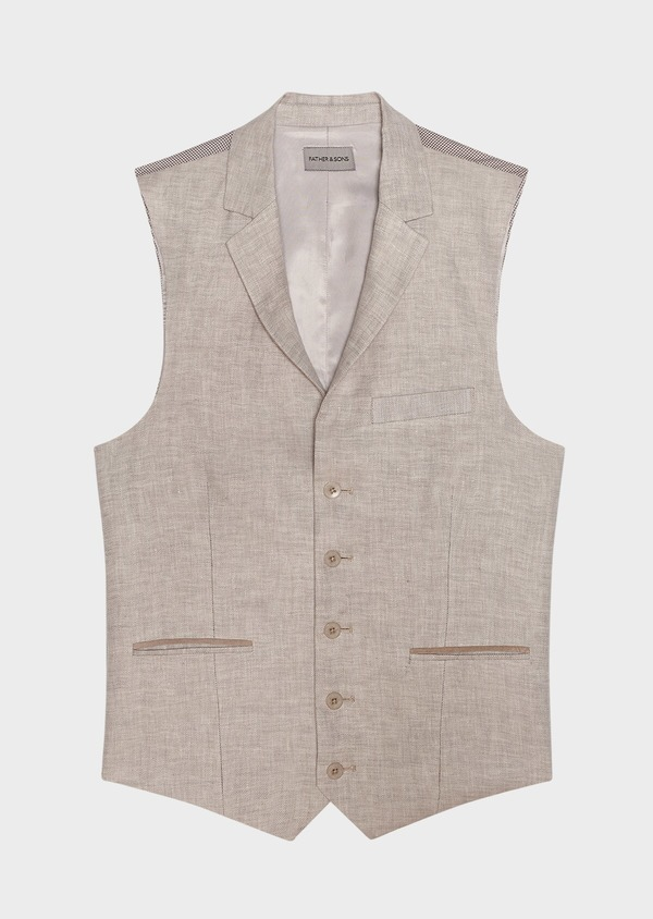 Gilet casual en lin uni gris clair - Father and Sons 34518
