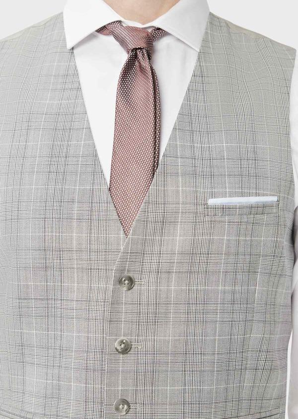 Gilet de costume en laine beige Prince de Galles - Father and Sons 39085
