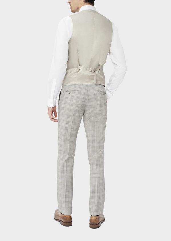 Gilet de costume en laine beige Prince de Galles - Father and Sons 39084