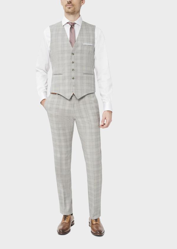 Gilet de costume en laine beige Prince de Galles - Father and Sons 39083