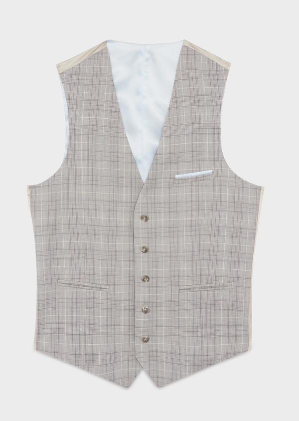 Gilet de costume en laine beige Prince de Galles - Father and Sons 39081