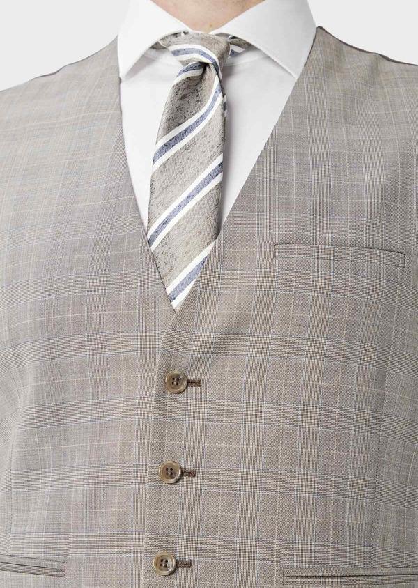 Gilet de costume en laine beige Prince de Galles - Father and Sons 39134