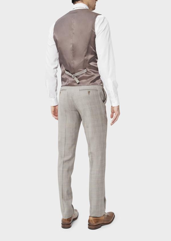 Gilet de costume en laine beige Prince de Galles - Father and Sons 39133