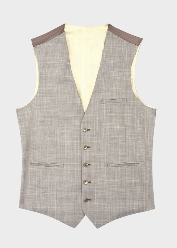 Gilet de costume en laine beige Prince de Galles - Father and Sons 39130