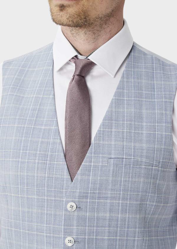 Gilet de costume en laine stretch bleue Prince de Galles - Father and Sons 39843
