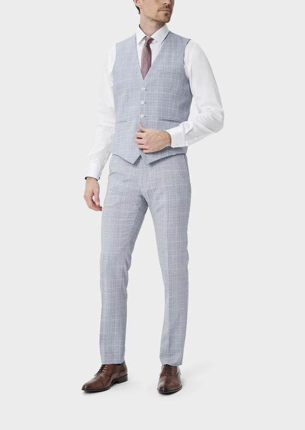 Gilet de costume en laine stretch bleue Prince de Galles - Father and Sons 39841