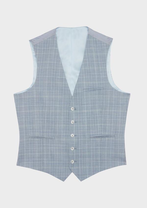 Gilet de costume en laine stretch bleue Prince de Galles - Father and Sons 39839
