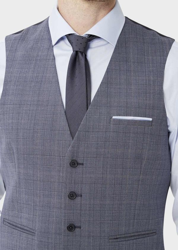 Gilet de costume en laine bleu chambray Prince de Galles - Father and Sons 39119