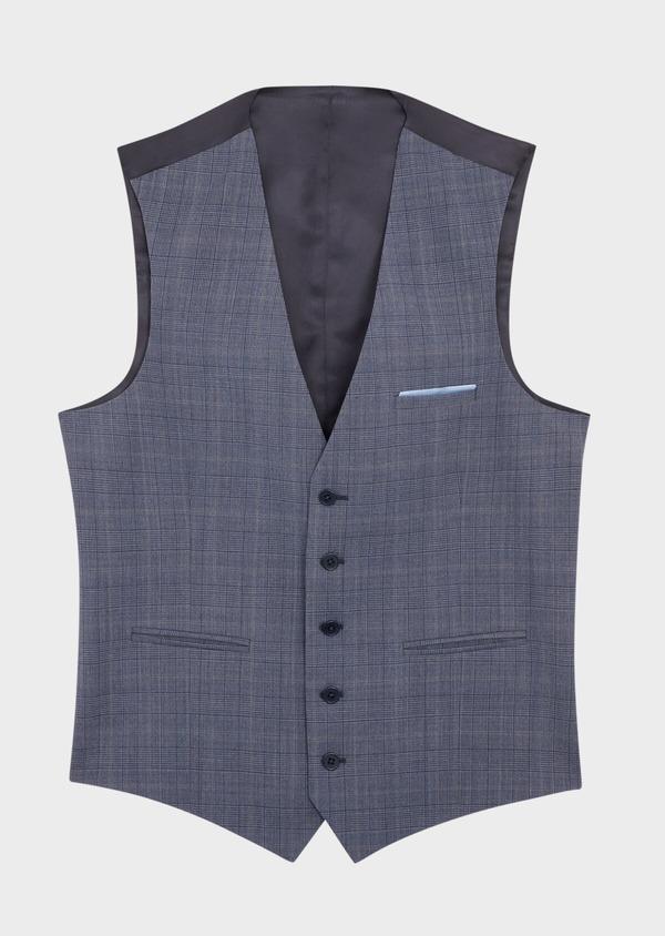 Gilet de costume en laine bleu chambray Prince de Galles - Father and Sons 39115