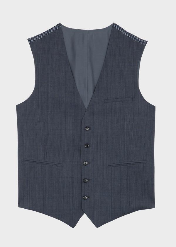 Gilet de costume en laine bleu chambray Prince de Galles - Father and Sons 41218