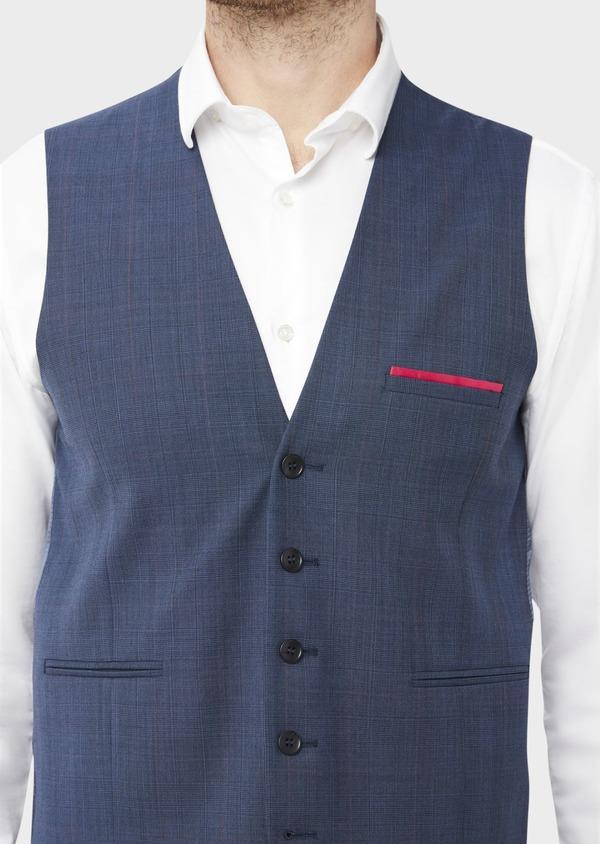 Gilet de costume en laine bleue Prince de Galles - Father and Sons 37078