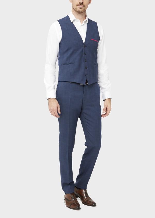 Gilet de costume en laine bleue Prince de Galles - Father and Sons 37076