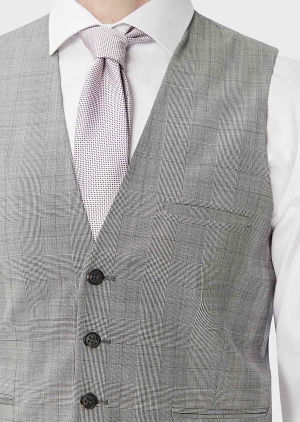 Gilet de costume en laine gris clair Prince de Galles - Father and Sons 39075