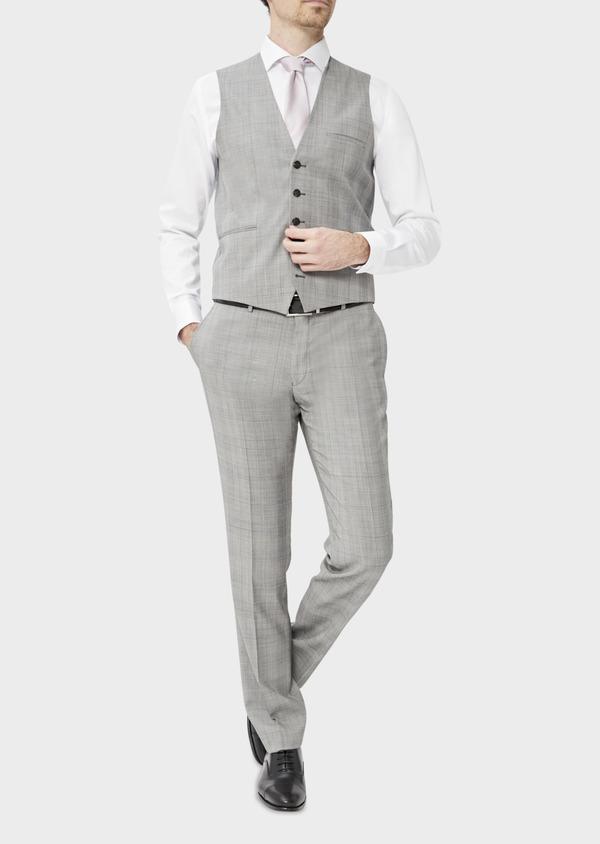 Gilet de costume en laine gris clair Prince de Galles - Father and Sons 39073