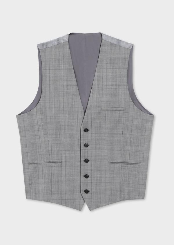 Gilet de costume en laine gris clair Prince de Galles - Father and Sons 39071