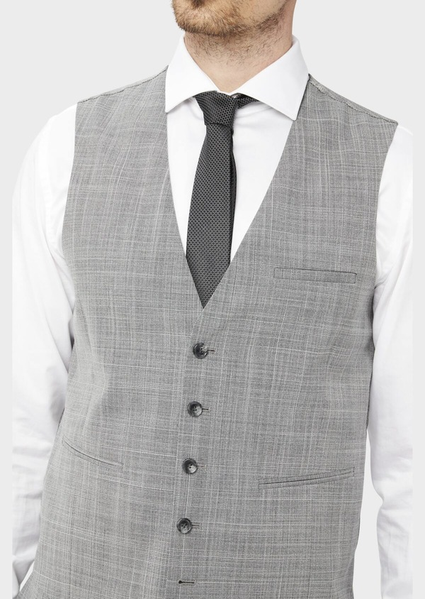 Gilet de costume en laine mélangée gris clair Prince de Galles - Father and Sons 39129