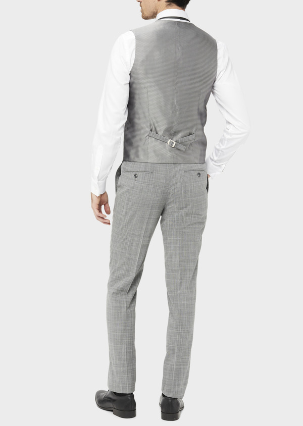 Gilet de costume en laine mélangée gris clair Prince de Galles - Father and Sons 39128