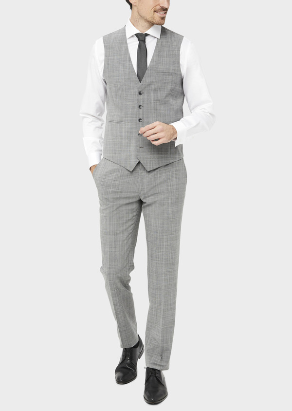 Gilet de costume en laine mélangée gris clair Prince de Galles - Father and Sons 39127