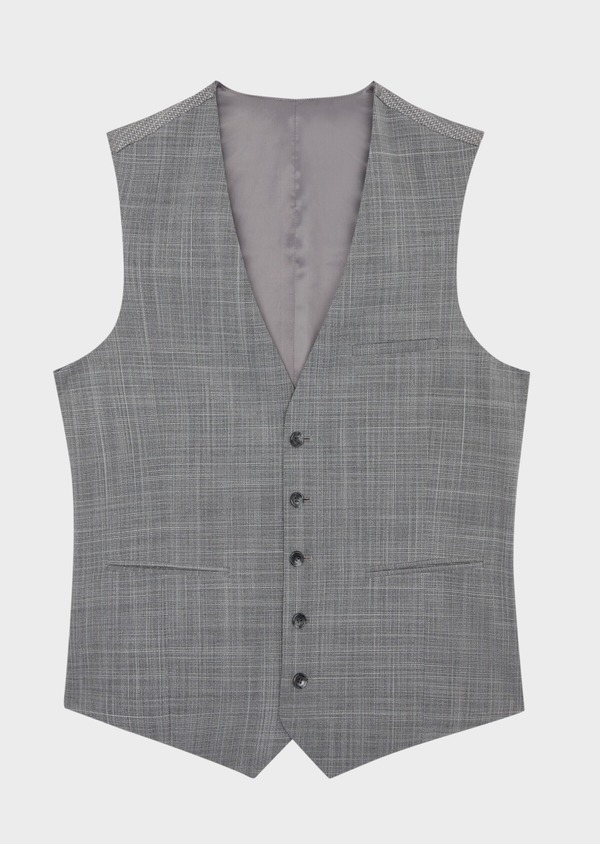 Gilet de costume en laine mélangée gris clair Prince de Galles - Father and Sons 39125