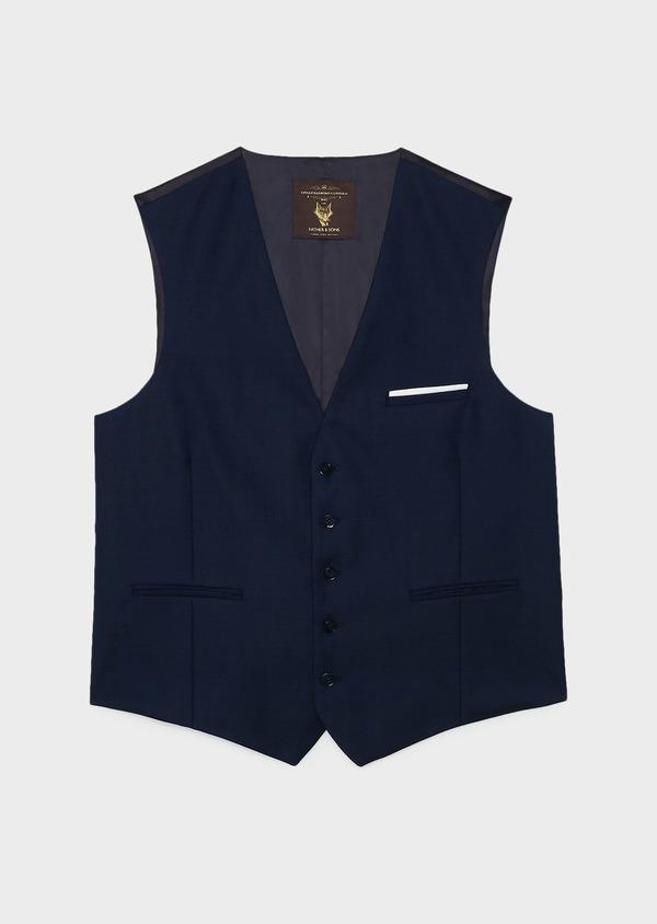Gilet de costume en laine Vitale Barberis Canonico bleu marine Prince de Galles - Father and Sons 20013