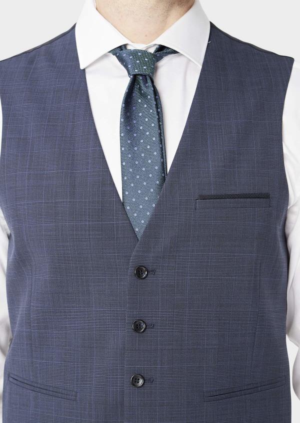 Gilet de costume en laine mélangée bleu marine Prince de Galles - Father and Sons 39104