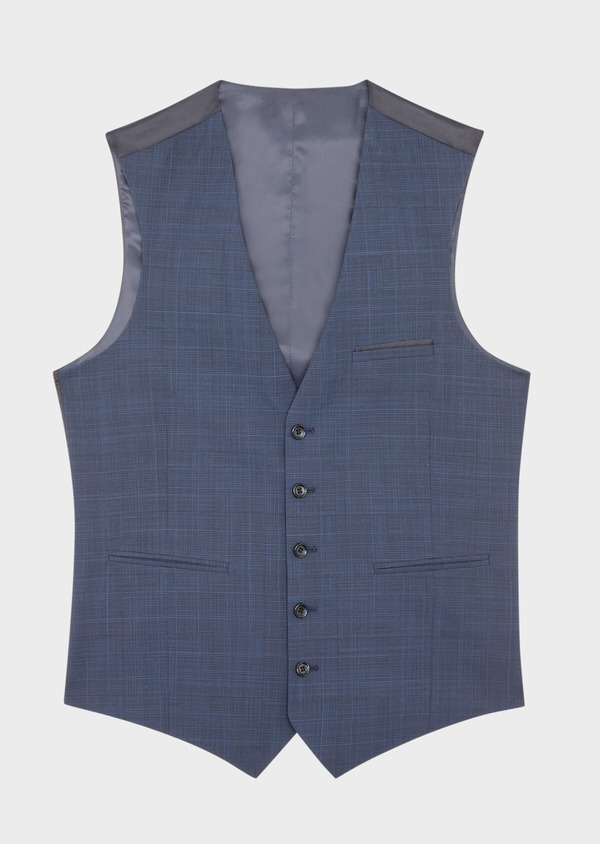 Gilet de costume en laine mélangée bleu marine Prince de Galles - Father and Sons 39100