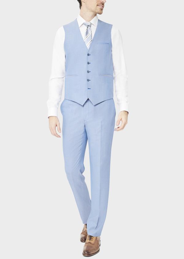 Gilet de costume en laine unie bleue - Father and Sons 39088