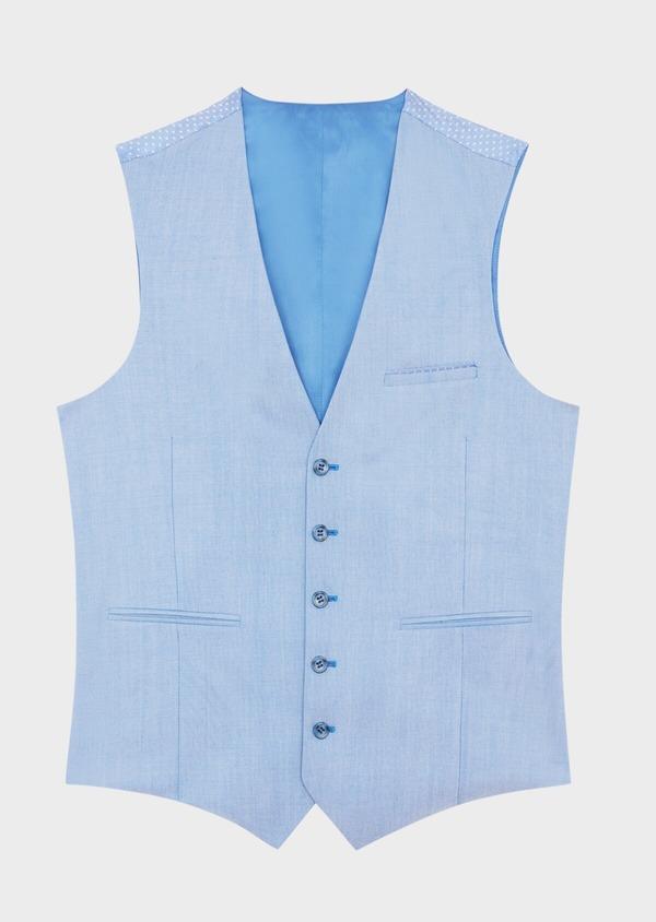 Gilet de costume en laine unie bleue - Father and Sons 39086