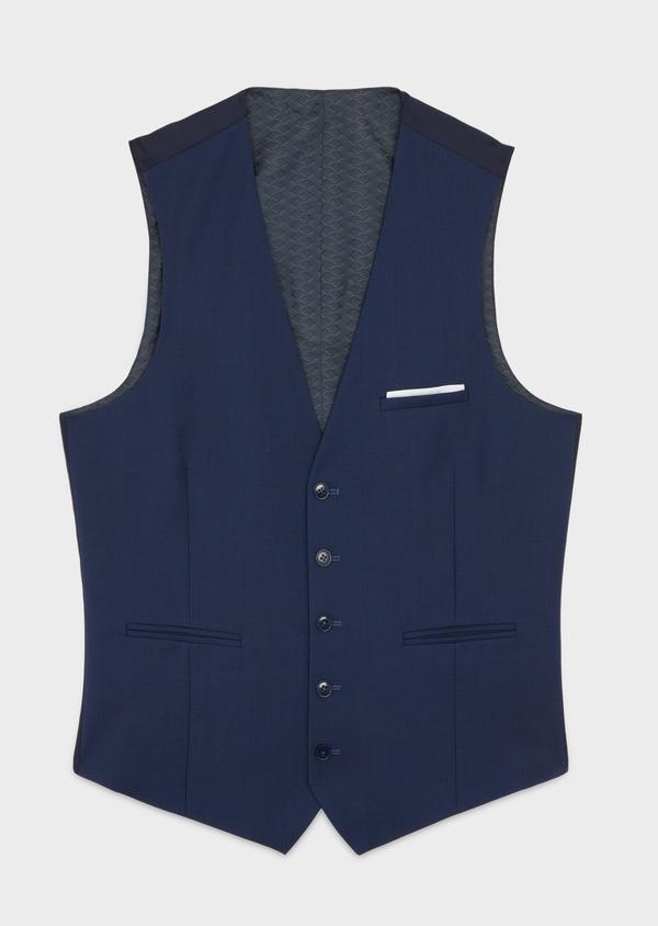 Gilet de costume en laine unie bleu indigo - Father and Sons 39098