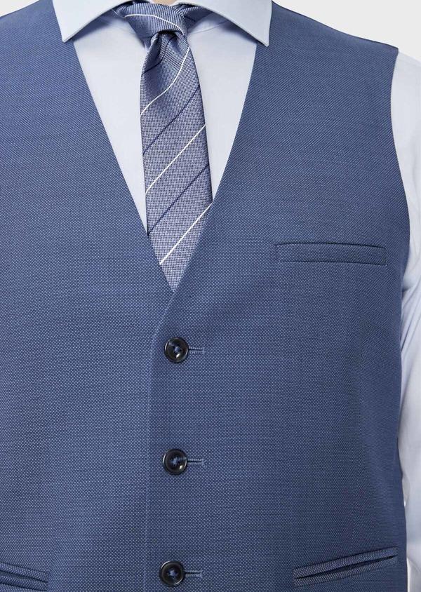 Gilet de costume en laine unie bleu chambray - Father and Sons 39114