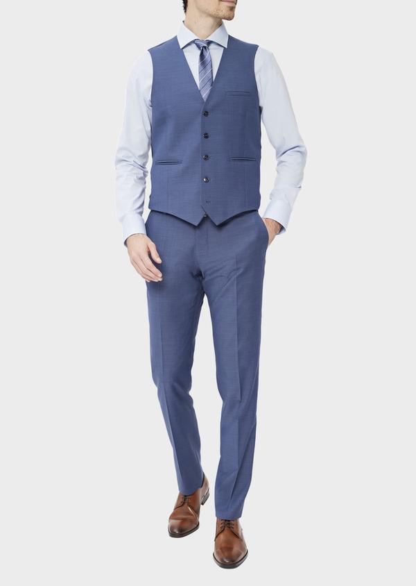 Gilet de costume en laine unie bleu chambray - Father and Sons 39112