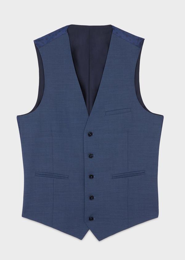 Gilet de costume en laine unie bleu chambray - Father and Sons 39110