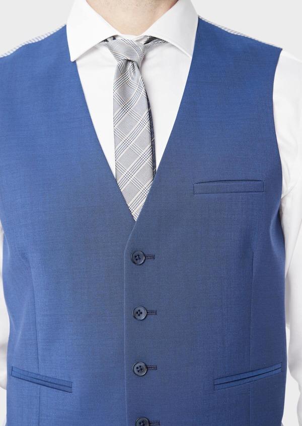 Gilet de costume en laine unie bleue - Father and Sons 39139
