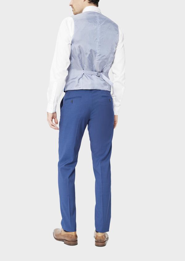 Gilet de costume en laine unie bleue - Father and Sons 39138