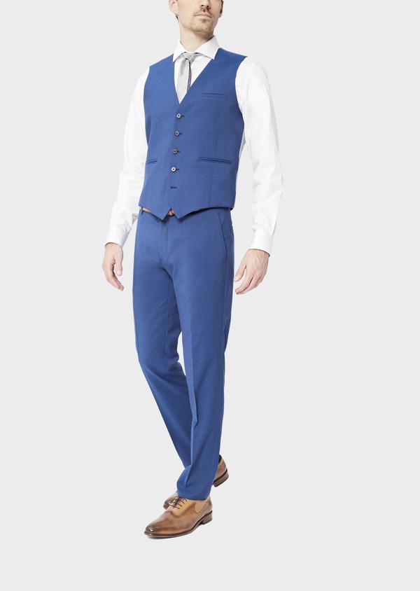 Gilet de costume en laine unie bleue - Father and Sons 39137