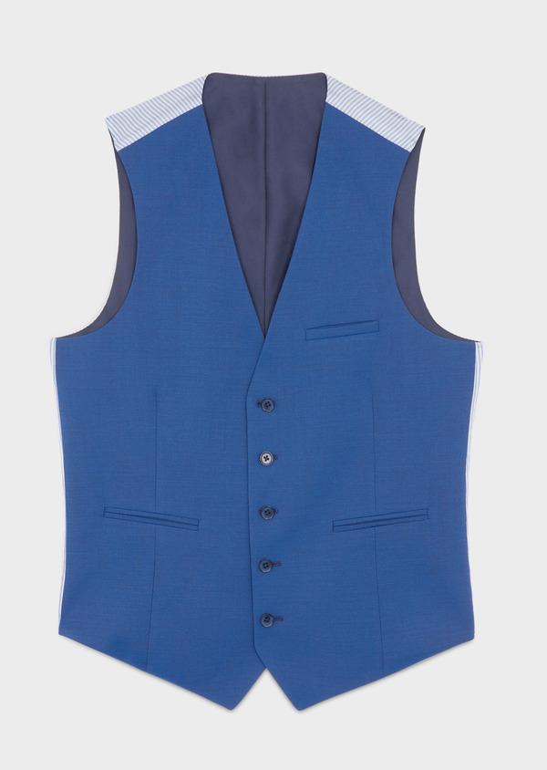 Gilet de costume en laine unie bleue - Father and Sons 39135