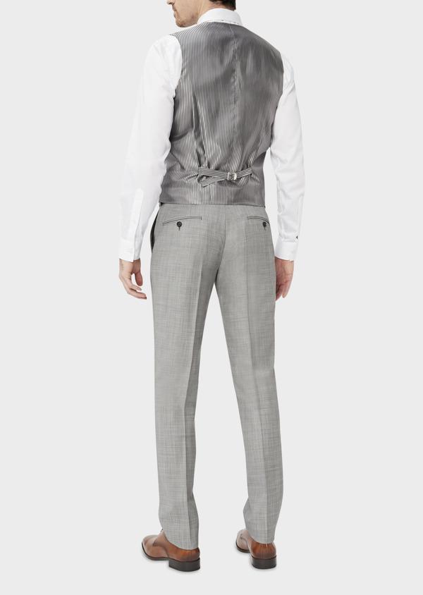 Gilet de costume en laine unie gris clair - Father and Sons 39079