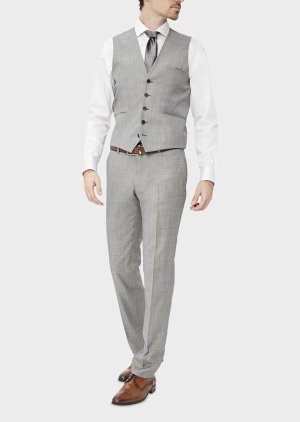 Gilet de costume en laine unie gris clair - Father and Sons 39078