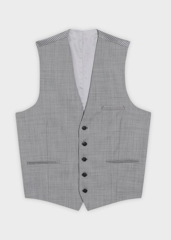 Gilet de costume en laine unie gris clair - Father and Sons 39076