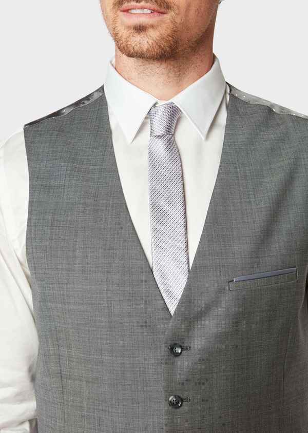 Gilet de costume coordonnable en laine mélangée unie grise - Father and Sons 31514