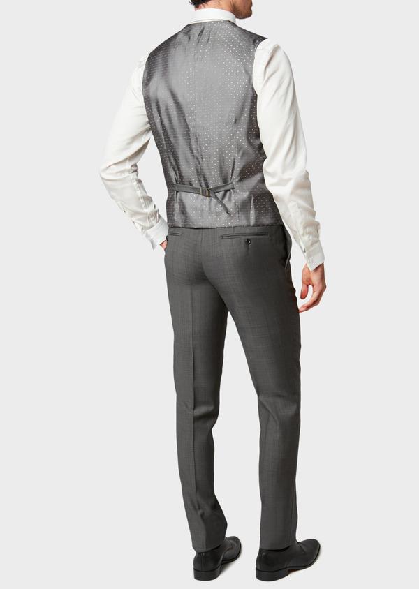 Gilet de costume coordonnable en laine mélangée unie grise - Father and Sons 31513