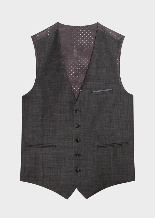 Gilet de costume coordonnable en laine mélangée unie grise - Father and Sons 31510