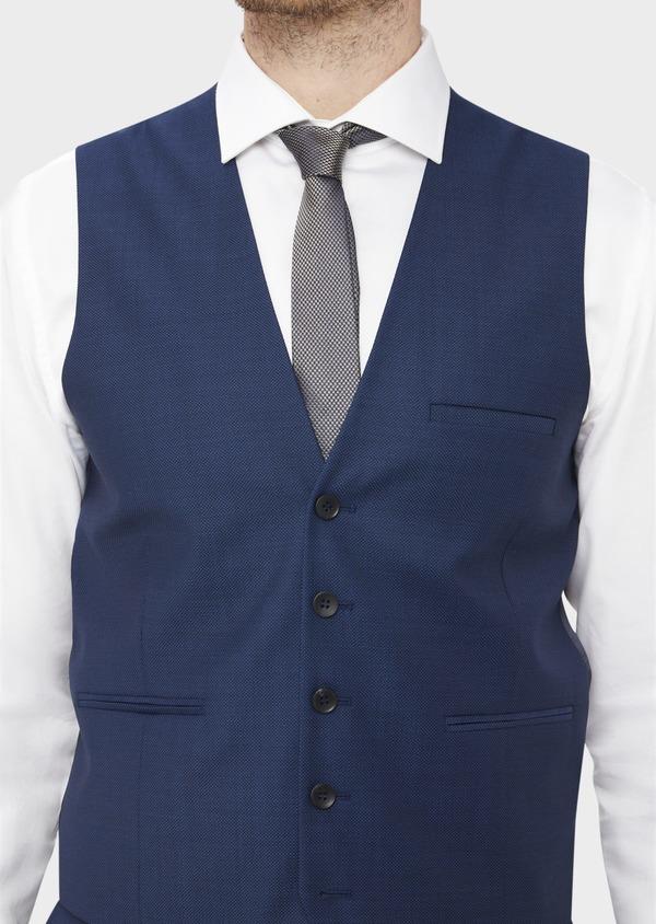 Gilet de costume en laine unie bleu indigo - Father and Sons 37073