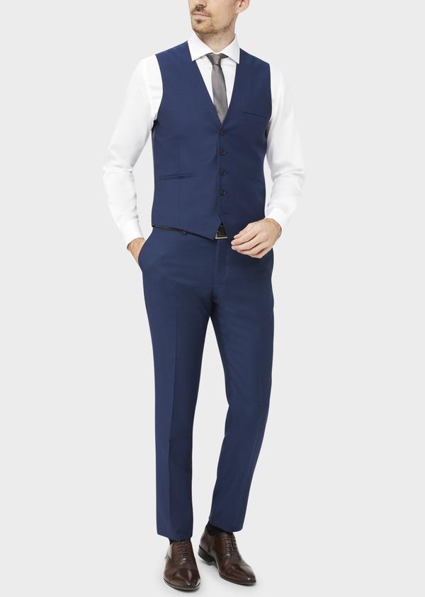 Gilet de costume en laine unie bleu indigo - Father and Sons 37071