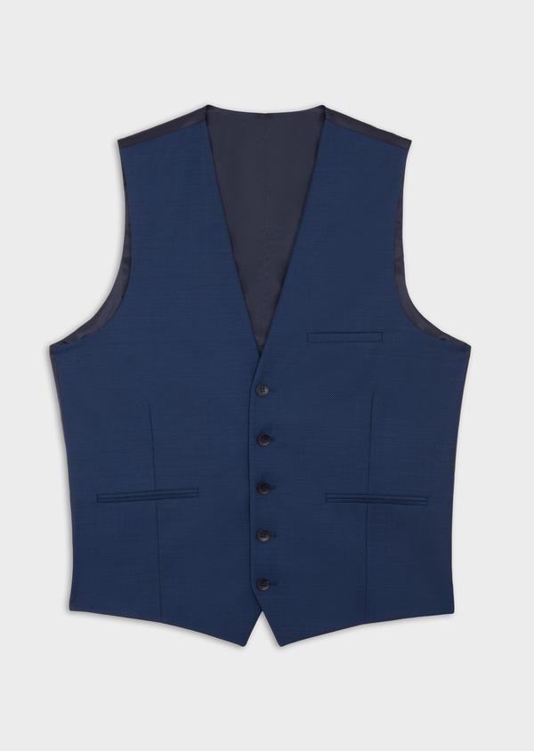 Gilet de costume en laine unie bleu indigo - Father and Sons 37069