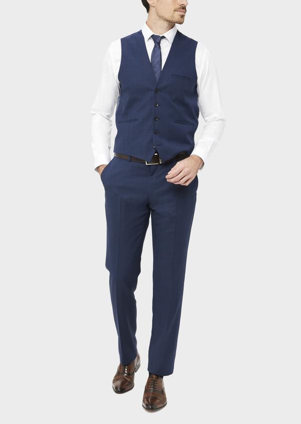 Gilet de costume en laine mélangée bleu Prince de Galles - Father and Sons 37088