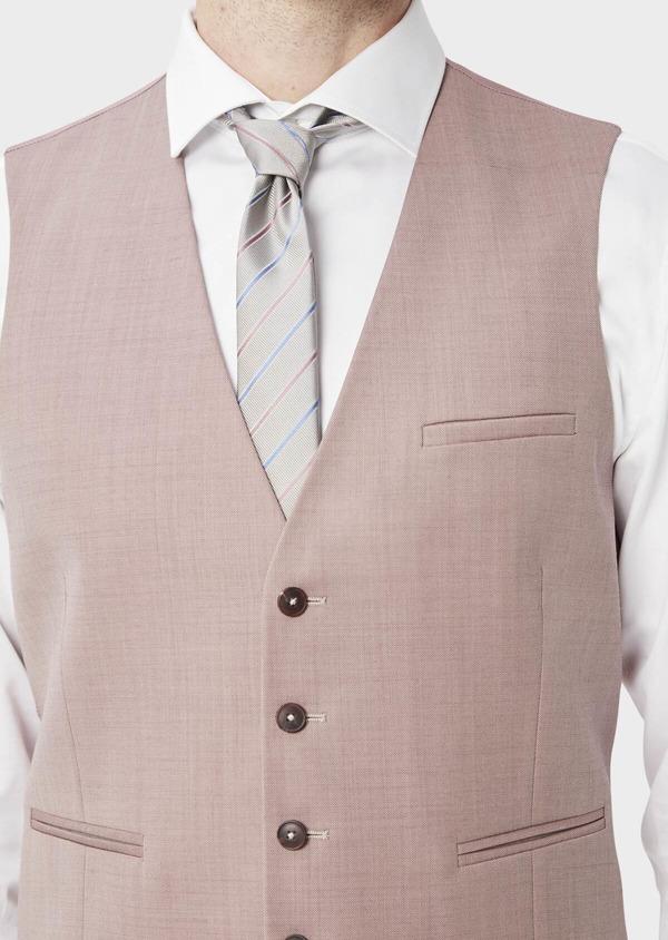 Gilet de costume en laine unie rose - Father and Sons 39097