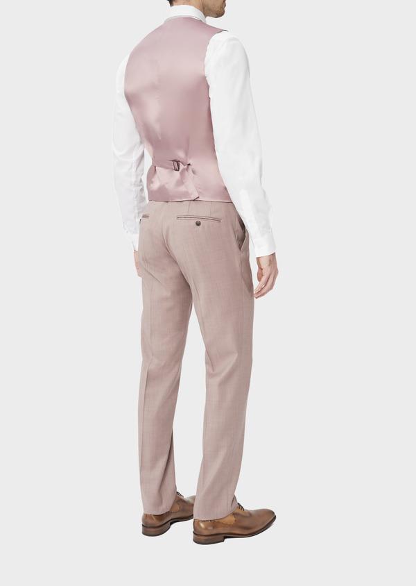 Gilet de costume en laine unie rose - Father and Sons 39096